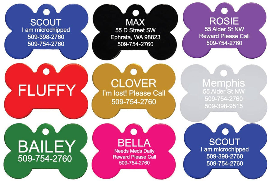 GoTags Bone Shaped Dog Tags, Double-Sided Engraving, Pet Tags Personalized with Name and ID