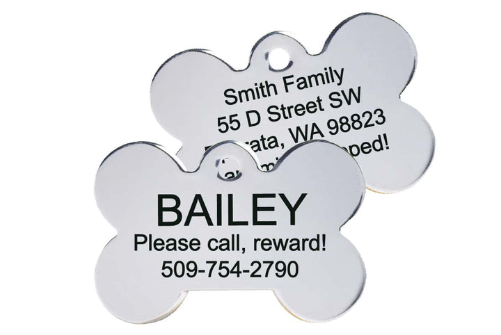 GoTags Bone Shaped Stainless Steel Dog Tags, Double Side Engraved, Personalized Pet Tags