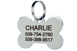 GoTags Bone Shape Dog Tags in Stainless Steel, Personalized Pet Tags Engraved