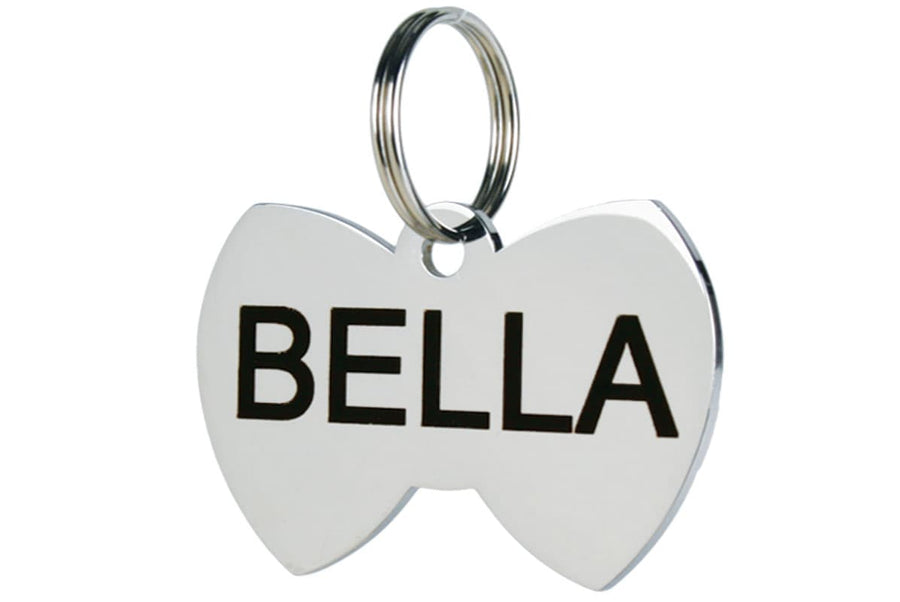 GoTags Bow Tie Shaped Dog Tags in Stainless Steel, Personalized and Engraved