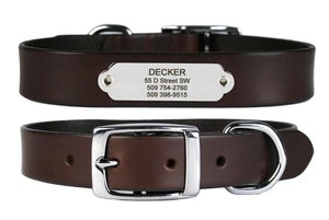 GoTags Brown Leather Dog Collars with Nameplate ID Tag, Personalized Stainless Steel Name Plate Engraved with Custom ID