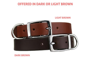 GoTags Personalized Brown Leather Dog Collars