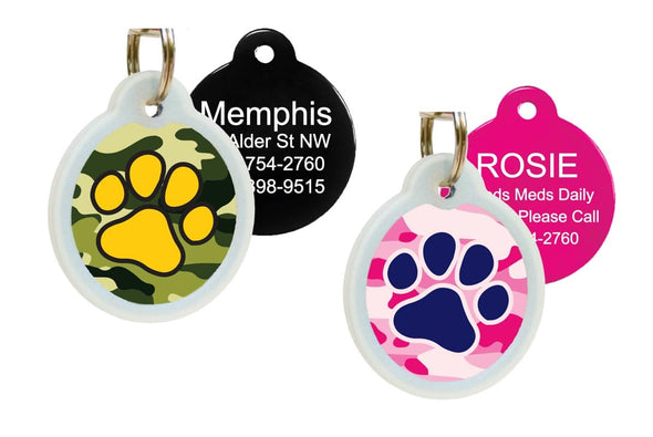 GoTags Camo Dog Tags for Pets with Silencer for Quiet Tags
