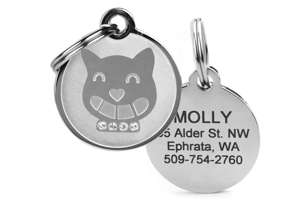 GoTags Cat Tag with Swarovski Crystals, Engraved Stainless Steel Cat Tag