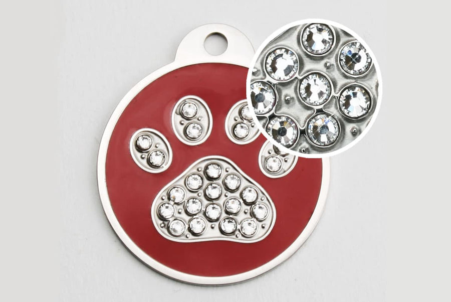 GoTags Swarovski Dog Tags for Dogs made of Stainless Steel and Sparkling Crystals in a Paw Print Shape
