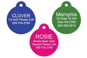 GoTags Round Pet Tags, Double Sided, Personalized, Engraved on 2 Sides