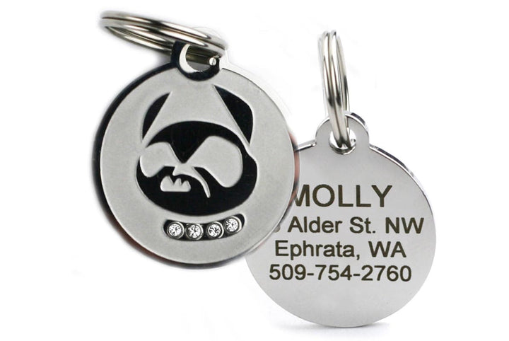GoTags Personalized Stainless Steel Dog Tag with Swarovski Crystals