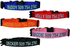 GoTags Personalized Dog Collars with Name, Custom Embroidered Dog Collars