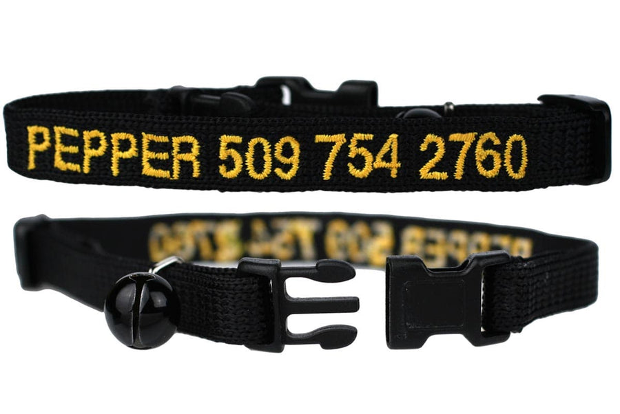 GoTags Personalized Cat Collars Embroidered with Name and Phone Number, Black Breakaway Cat Collar with Bell