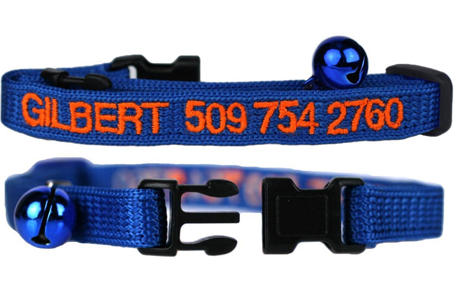GoTags Personalized Cat Collar Embroidered with Name and Phone Number, Blue Breakaway Cat Collars with Bell