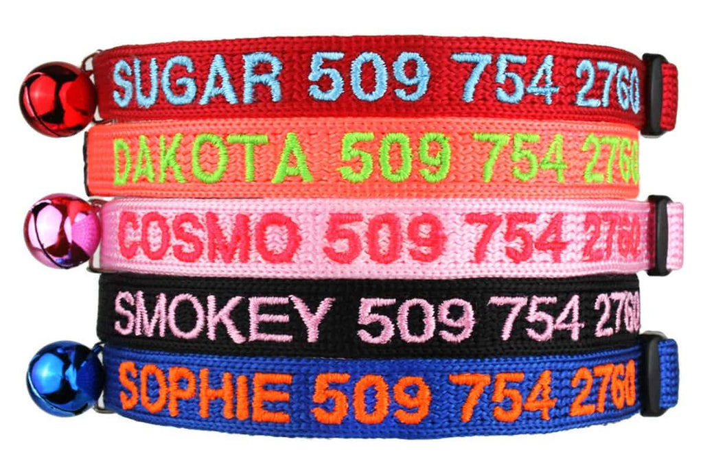 GoTags Personalized Cat Collar Embroidered with Cat Name and Phone Breakaway