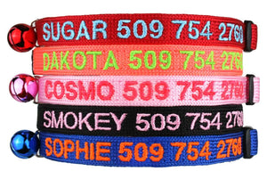 GoTags Personalized Cat Collars Embroidered with Cat Name and Phone Number, Breakaway Collar with Bell for Cats and Kitens