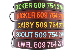 GoTags Personalized Brown Leather Dog Collars Embroidered with Dog Name and Phone Number
