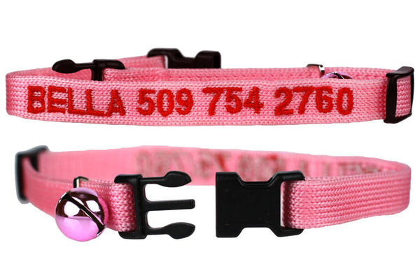 GoTags Pink Personalized Cat Collar Embroidered with Cat Name and Phone Number, Breakaway Cat Collar with Bell