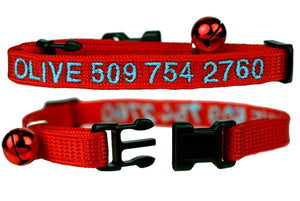 GoTags Red Personalized Cat Collar with Breakaway Buckle and Bell, Embroidered with Cat name and Phone Number