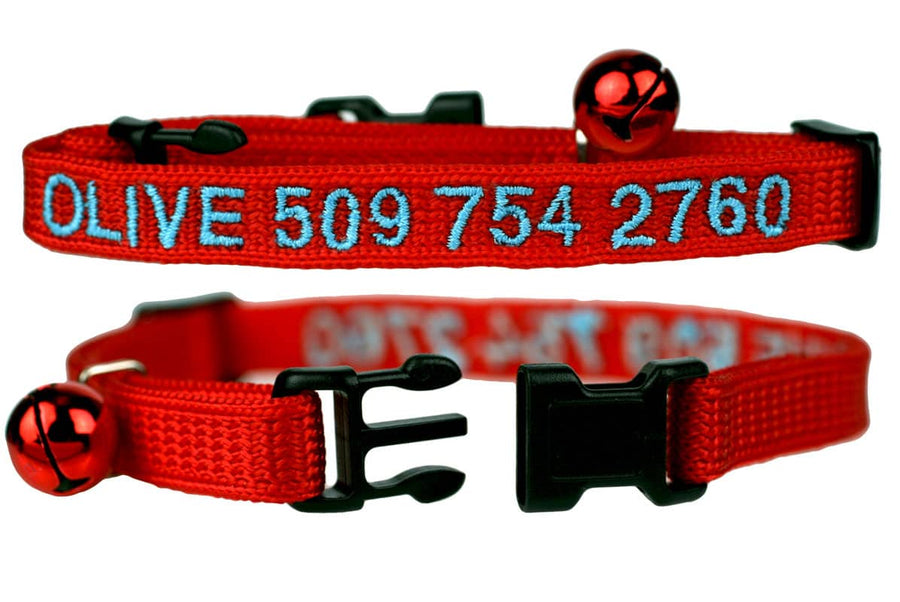 GoTags Embroidered Red Personalized Cat Collar with Breakaway Buckle