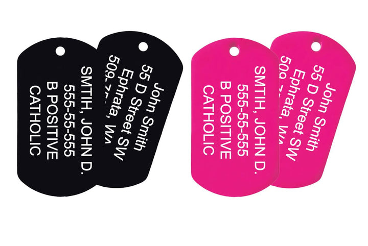 GoTags Engraved US Military Dog Tag Necklace Set with Ball Chains Personalized