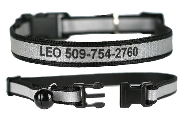 GoTags Personalized Black Cat Collars Engraved with Name and Phone Number, Reflective Breakaway Cat Collar