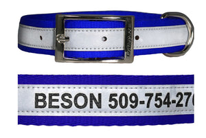 GoTags Engraved Reflective Personalized Dog Collars with Name and Phone Number, Metal Buckle Dog Collars