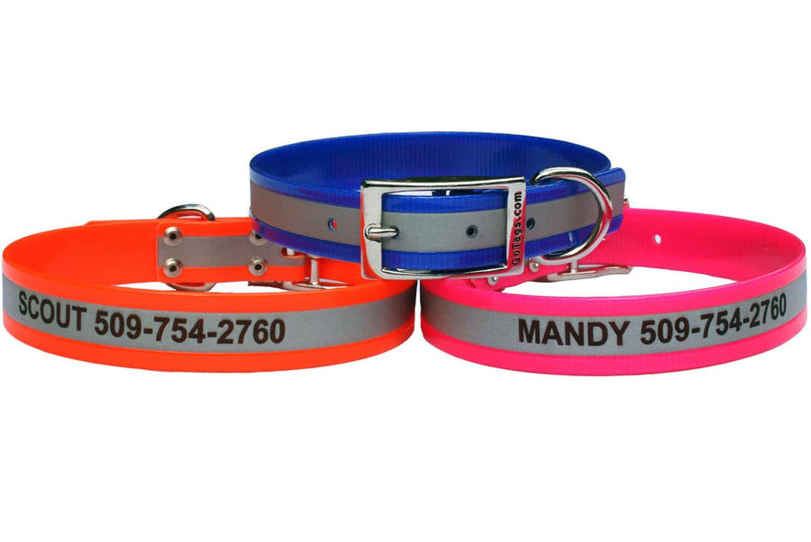 GoTags Engraved Personalized Waterproof Dog Collars with Metal Buckle, Biothane Dog Collars
