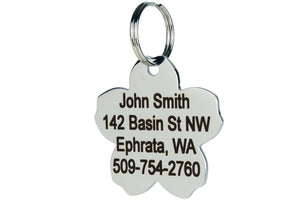 GoTags Flower Shaped Dog Tag in Stainless Steel, Personalized and Engraved