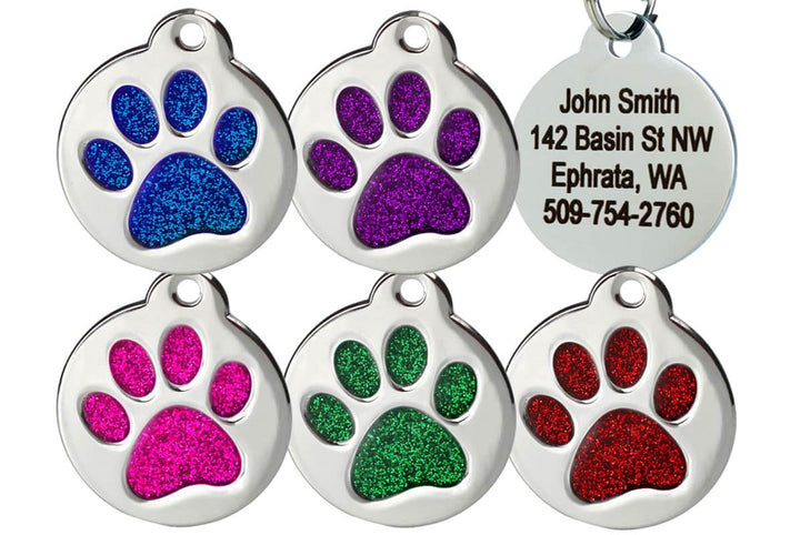 GoTags Pet ID Tags with Glitter Filled Paw Print, Dog Tags made of Stainless Steel, Personalized