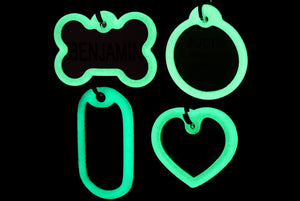 GoTags Glow in the Dark Pet Tag Silencers Bone Heart Round Rectangle