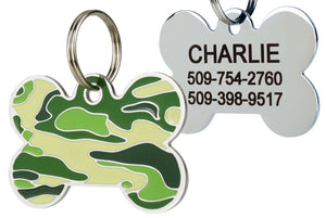 GoTags Green Camo Dog Tag for Dogs, Camouflage Pet Tags made of Stainless Steel, Personalized