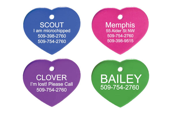 GoTags Heart Shaped Pet Tags, Personalized and Custom Engraved, Double-Sided