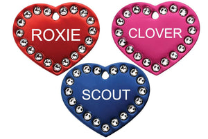 GoTags Heart Shaped Pet Tags with Swarovski Crystals, Personalized and Custom Engraved with Pet Name and ID