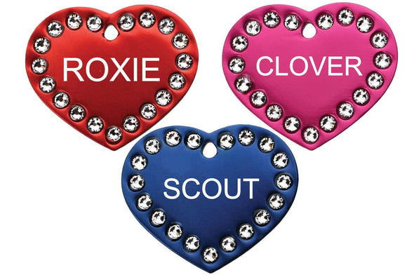 GoTags Personalized Heart Shape Pet Tags with Swarovski Crystals Custom Engraved