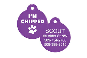 GoTag I Am Chipped Pet ID Tag, Personalized Dog Tags Engraved with Name and ID