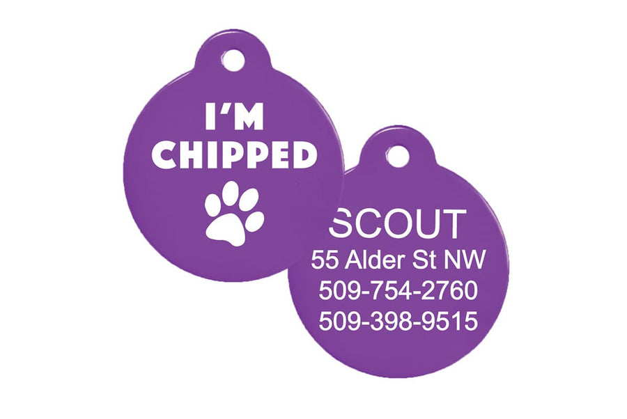 GoTag I Am Chipped Pet ID Tag Personalized Engraved