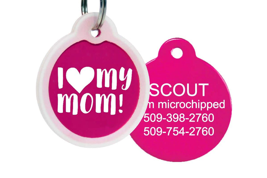 GoTags I Love My Mom Pet Tags with Dog Tag Silencer, Personalized, Engraved