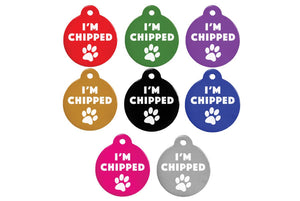 GoTags I'm Microchipped Chipped Pet ID Tags, Personalized Dog Tags Engraved with Dog Name and ID