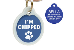 GoTags I'm Chipped Microchipped Pet ID Tags Personalized Engraved