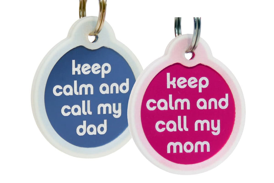 GoTags Keep Calm and Call My Mom Dad Pet ID Tags Personalized Engraved