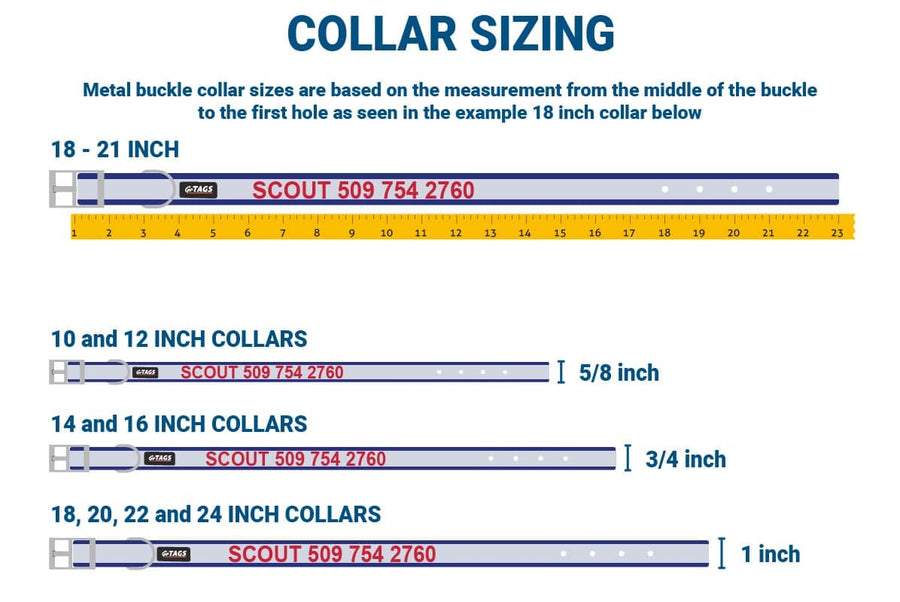 GoTags Metal Buckle Reflective Dog Collar Size Guide