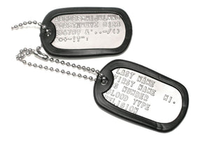 GoTags Personalized Embossed Stainless Steel US Military Dog Tag Necklace Set