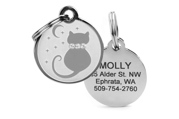 GoTags Moon and Stars Cat ID Tag with Swarovski Crystals, Stainless Steel Cat Tag