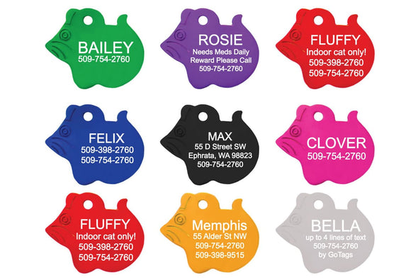 GoTags Mouse Shape Cat ID Tags Personalized Custom Engraved