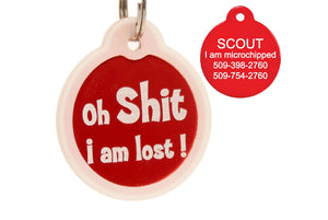 GoTags Oh Shit I'm Lost Pet Tags, Personalized Dog Tags Engraved with Name and ID