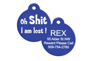 GoTags Oh Shit I'm Lost Dog Tags, Personalized Pet Tags Engraved with Name and ID