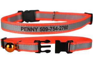 GoTags Engraved Personalized Orange Cat ID Collar with Name and Phone Number
