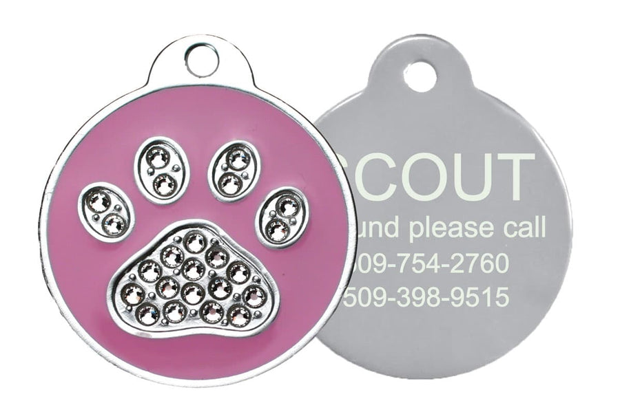 GoTags Pink Paw Print Pet ID Tag with Swarovski Crystals Personalized Engraved