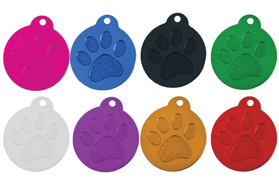 GoTags Paw Print Pet ID Tags Personalized Custom Engraved
