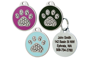 GoTags Stainless Steel Pet ID Tags with Swarovski Crystals in Paw Print Shape, Personalized Dog Tags