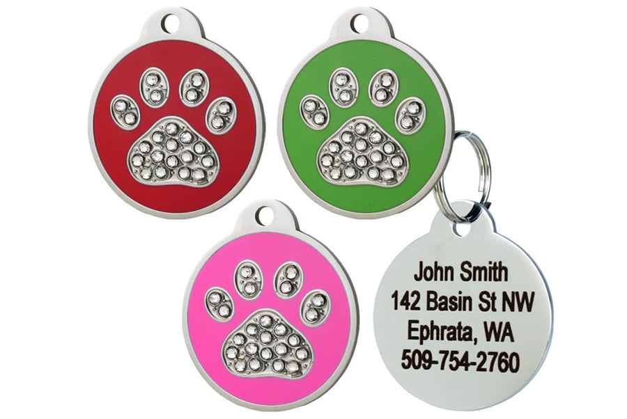 GoTags Dog Tags with Swarovski Crystals in Paw Print Shape, Pet Tag made of Stainless Steel with Red, Green, and Pink  Enamel, Personalized