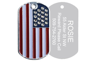 GoTags American Flag Military Dog Tag for Dogs with Swarovski Crystal Stars, Personalized, Engraved