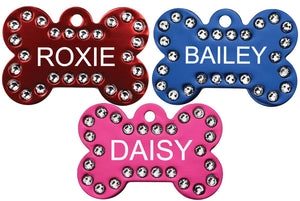 GoTags Bone Shape Dog Tags with Swarovski Crystals, Personalized Engraved Pet Tags